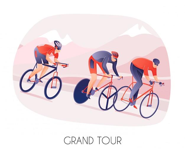 Спортсмены-мужчины в спортивной одежде носят на велосипедах во время велосипедного тура по горам