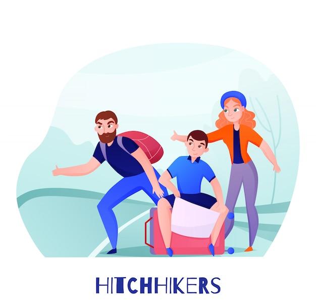車のキャッチ中に道路上の荷物を持つ旅行者ヒッチハイカーのグループ