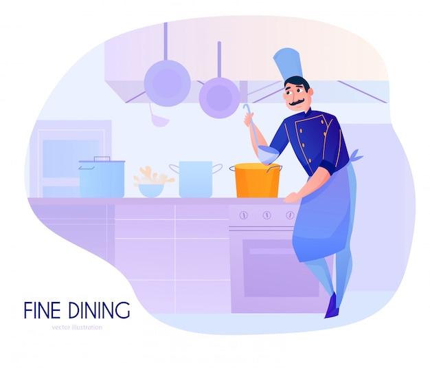 レストランのキッチンでスープを味わう男性クックとカラフルな漫画の組成