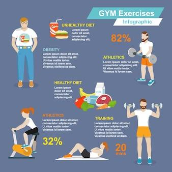 Тренажерный зал спорт упражнения фитнес и здорового образа жизни инфографика набор векторных иллюстраций