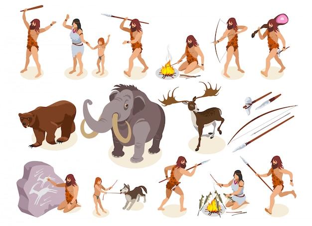Изометрические иконки каменного века с символами охоты и приготовления пищи, изолированных