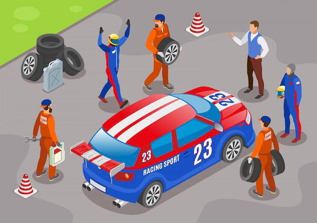 Спортивные гонки с символами победителя гоночной команды изометрии