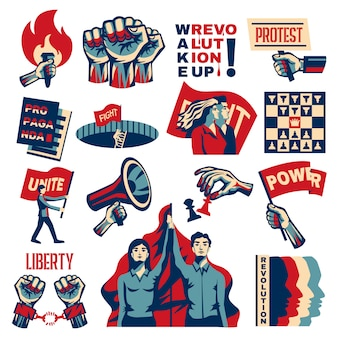 Революция социализм, поощряющий конструктивистский набор с властью, свободой, единство, борьба за свободу, символы, винтаж, изолированный