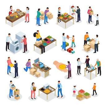 Разделение экономики изометрической коллекции изолированных человеческих характеров людей, разделяющих одежду, товары и еду