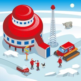 Ученые арктической полярной станции с собакой на гусеничном транспортном средстве на снегу изометрии