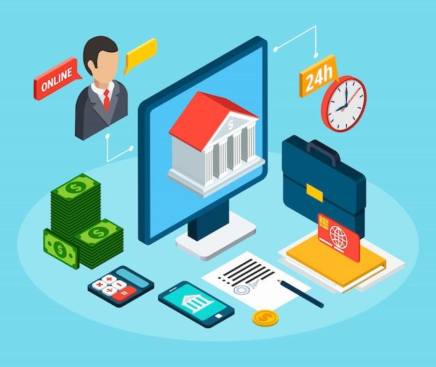 Кредиты изометрическая композиция с набором рабочего места с офисными пиктограммами и финансами