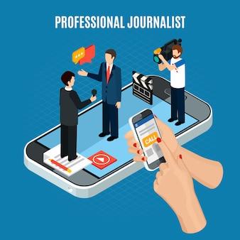 Фото-видео изометрическая композиция с персонажами оператора-журналиста и интервьюируемого на верхней части экрана смартфона