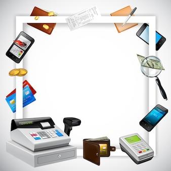 明るいイラストに現実的な支払い要素お金カード金融機器と白い正方形のフレーム