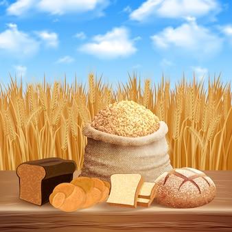 ケアと作物のイラストとパンの品揃え