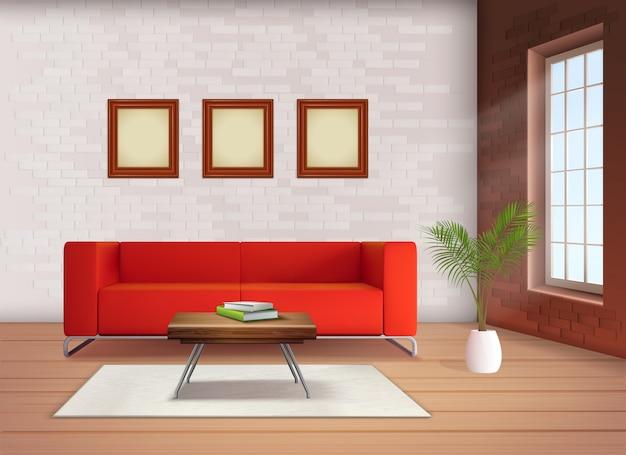 中立的な色のリビングルームのリアルなイラストの赤いソファアクセントと現代的なホームインテリアデザイン要素