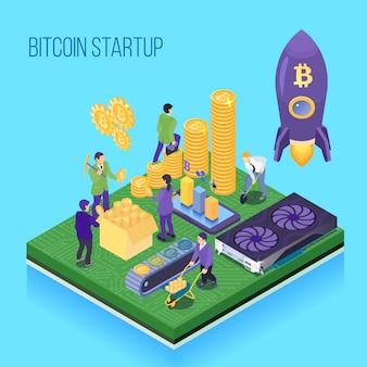 Бит-монета запуска проекта криптовалюты майнинг и транзакции компьютерное оборудование синий изометрии