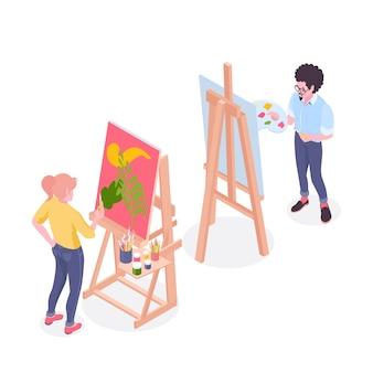 Художники, работающие над живописью, стоящие за мольбертом в студии рисования с изометрической иллюстрацией поддонов и кистей