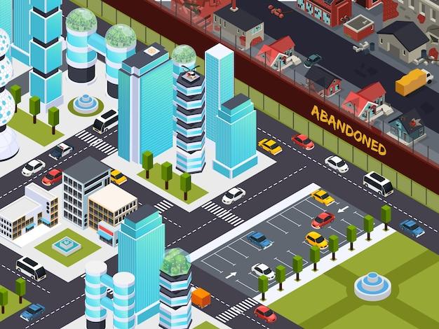 Изомерная композиция городских пустых и заброшенных зданий с заброшенными городскими башнями и заброшенной пригородной иллюстрацией