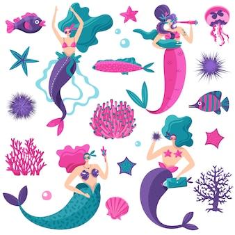Ярко-розовый бензиновый фиолетовый фантастические морские элементы с русалками, морскими звездами, медузами, рыбами, коралловыми рифами
