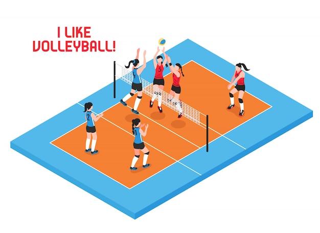 Женские команды во время игры в волейбол на синем оранжевом игровом поле изометрии