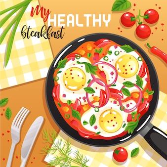 Здоровый завтрак с яйцами, овощами и зеленью на сковороде на столе сверху плоской иллюстрации