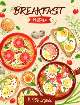 ベージュフラットイラストにさまざまな卵料理の朝食メニューテンプレート