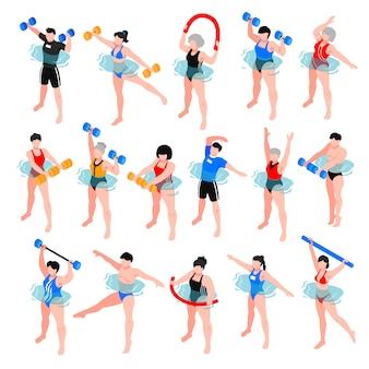 Человеческие персонажи со спортивным инвентарем во время занятий аквааэробикой набор изометрических иконок изолированных иллюстрация