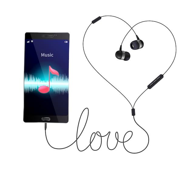 Наушники-наушники реалистичной композиции с проводными наушниками, подключенными к смартфону с приложением музыкального проигрывателя.