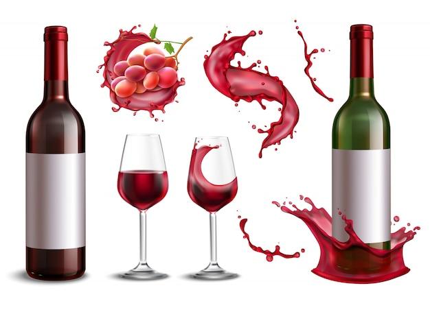 ぶどうとメガネのイラストの赤ワインのボトルの束の孤立した現実的な画像とワインスプラッシュコレクション