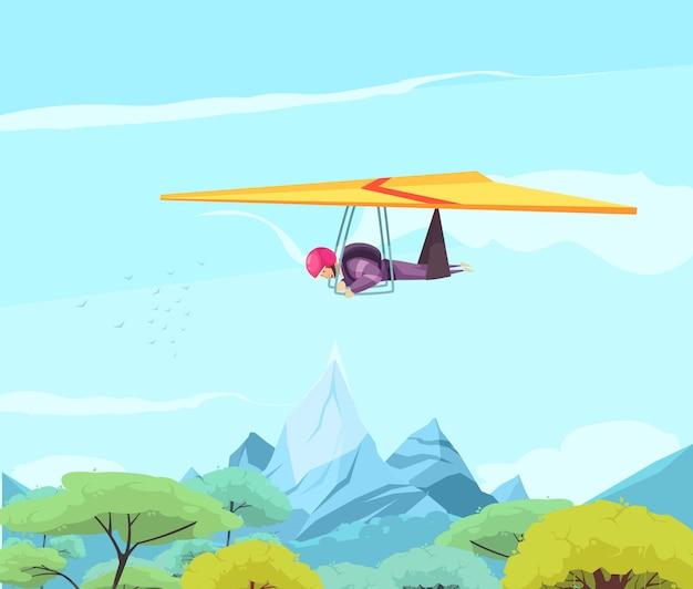 オリエンタルな木々や山々の上を滑空するフリースタイルハングスカイダイビングエクストリームスポーツフラット