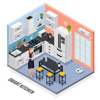 Умный кухонный интерьер с устройствами, управляемыми сенсорным экраном, изометрической композицией с несколькими плитами холодильников.