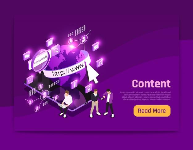 Изометрическая страница веб-контента с иллюстрацией символов мира