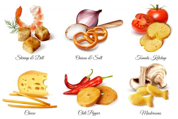 Набор из шести реалистичных дизайнерских композиций, иллюстрированных крекерами, закусками и вкусовыми добавками ингредиентов изолированной иллюстрации