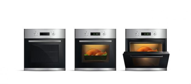 Набор реалистичной кухни с едой внутри и открытой дверью на белом фоне
