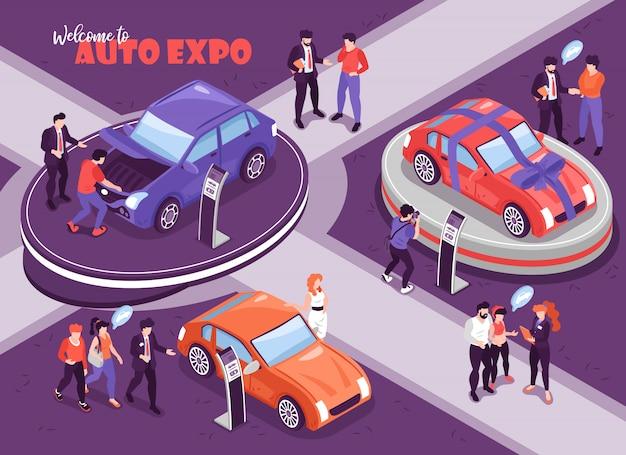 思考バブルと表彰台の図の車を持つ人々の人間のキャラクターと等尺性の車のショールームの背景