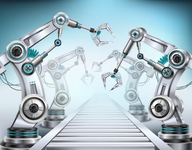 Полностью автоматизированная конвейерная система, оснащенная роботизированным манипулятором, реалистичная изометрическая композиция, свет