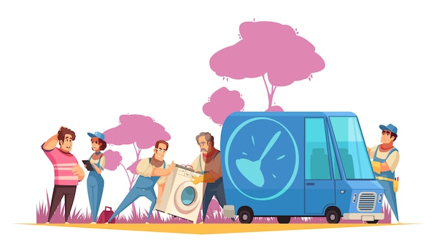 修理漫画イラストのサービスセンターに洗濯機を運ぶ配管工とフラットな構成