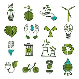 Экология и отходы набор иконок цвет
