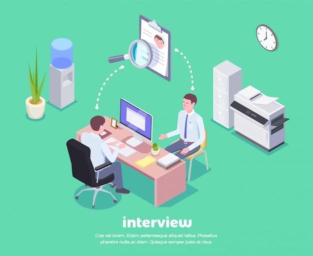 Набор изометрической фоновой композиции с видом двух мужчин, сидящих за столом с концептуальной пиктограммой икон иллюстрации