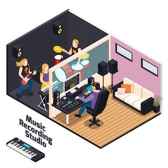 Музыканты с инструментами во время записи выступления в музыкальной студии изометрической композиции