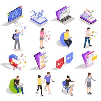 Социальные медиа символы технологии обмена сообщениями людей изометрические иконы коллекция с устройствами веб-сайтов приложений пользователей изолированных