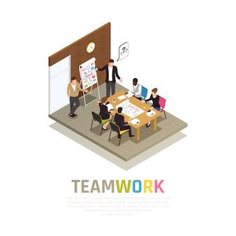 Эффективная командная работа. изометрическая композиция с руководителем проекта, проводящим встречи, делятся идеями с рабочей группой.
