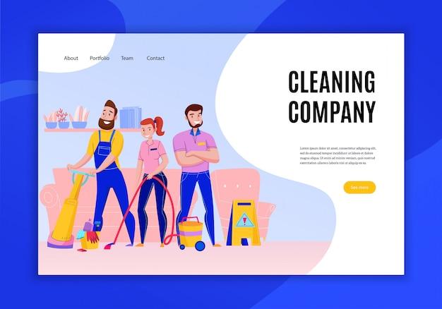 Профессиональные обязанности по уборке компании предлагают концепцию плоской домашней страницы веб-сайта баннер с пылесосом иллюстрации персонала