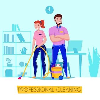 リビングルームの図に床を掃除機をかける制服のチームとプロのクリーニングサービスフラット広告ポスター