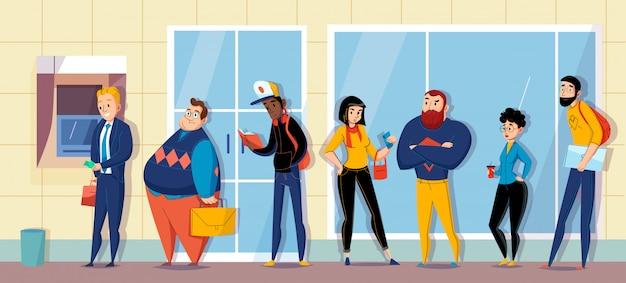 Люди, стоящие в очереди в банке выстраиваются в очередь за банкомат, ожидая сообщения плоской горизонтальной композиции иллюстрации