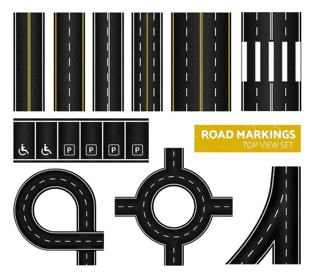異なるマーキング白と黄色のイラストで設定された黒い道路標示トップビューアイコン