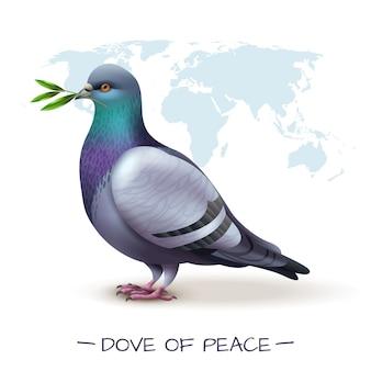 Птица с изображением голубя держит ветку с зелеными листьями перед картой мира