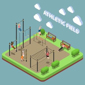 Человеческие персонажи во время тренировок на спортивной площадке со спортивными сооружениями изометрической композицией на бирюзе