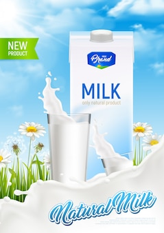 牛乳と現実的な自然の素朴な牛乳パッケージ広告ポスターはね本文イラストとガラスとカモミールフィールド
