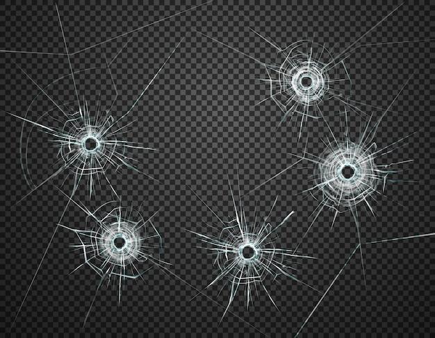 Пять пулевых отверстий в стекле крупным планом реалистичное изображение на темном прозрачном фоне иллюстрации