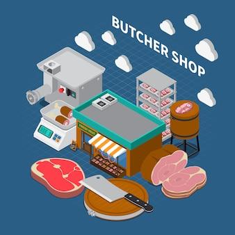 Мясной магазин изометрические