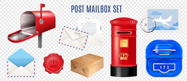 Реалистичные почтовые элементы прозрачный набор