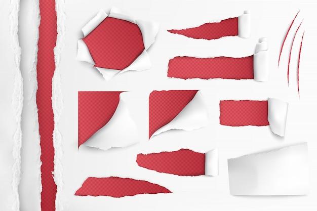 Белая бумага с рваными отверстиями