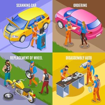 Авто сервис концепция иконки набор