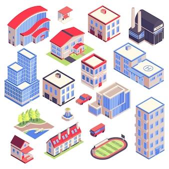 Изометрические иконки городского транспорта архитектуры среды с изолированными изображениями современных городских зданий с различными функциями векторные иллюстрации